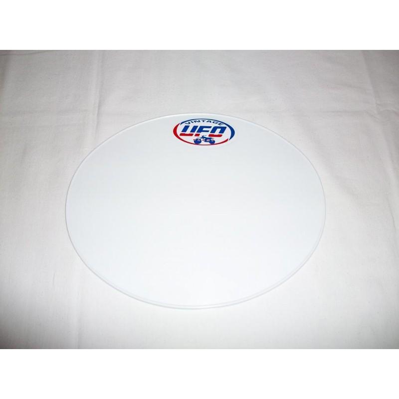 Startnummerntafel oval weiss UFO Vintage