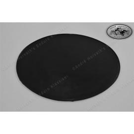 number plate plastic black oval, 265x215mm