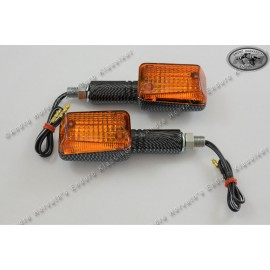 Mini Blinkers Pair Carbon Style long 39mm 12V 21W