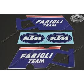 "decal kit gas tank spoiler ""Farioli Team"" KTM 125/250/350/500 GS/MX models 1988"